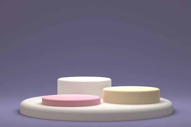 Минимальный подиум или пьедестал на фиолетовом фоне для презентации косметической продукции