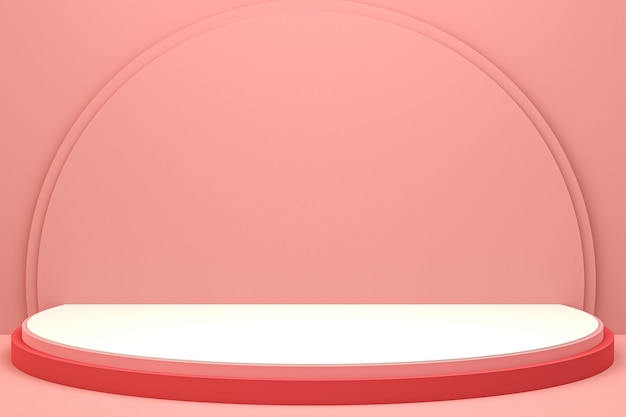 Минимальный подиум или пьедестал на красном фоне для презентации косметической продукции