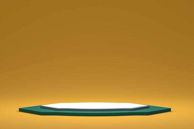 Минимальный подиум или пьедестал на желтом фоне для презентации косметической продукции