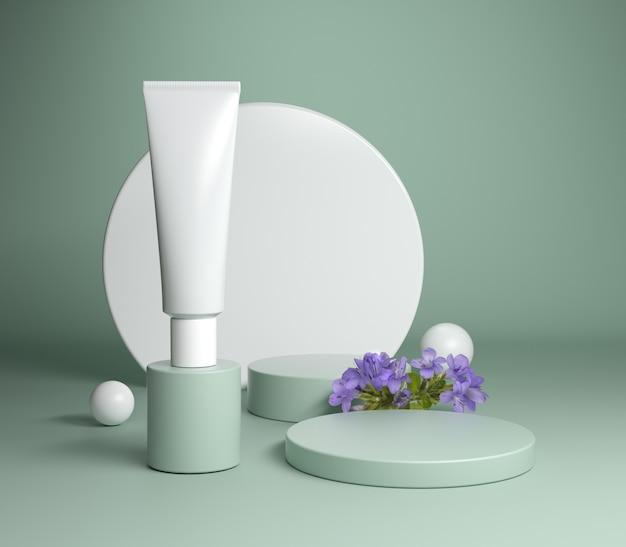 紫の花とセージの緑の背景の3 dレンダリングで最小限の表彰台包装化粧品セット