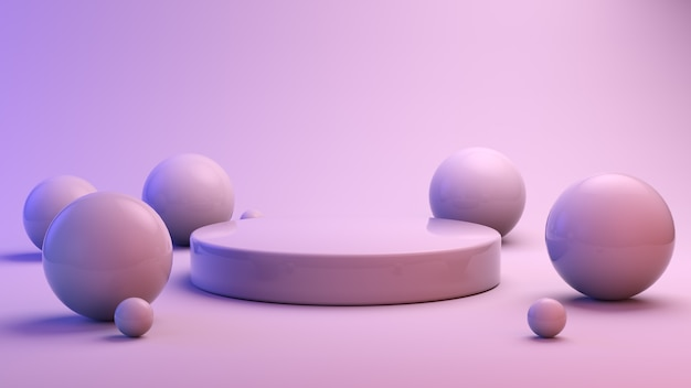 Minimal podium for product presentation surrounded by spheres