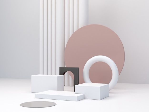 Minimal podiums to show a product empty scene with geometrical forms in pastel colors