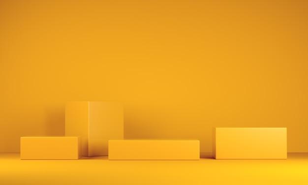 Minimal podiums on yellow background Premium Photo