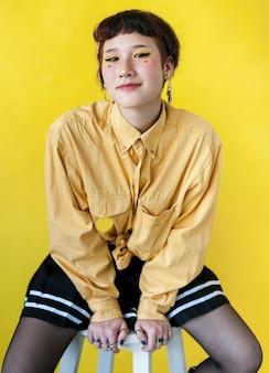 Minimal portrait of fashionable lady