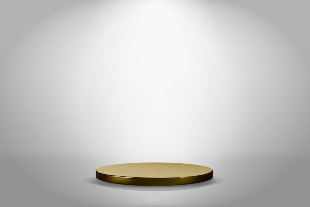ゴールドのスタンディーとグレーの最小限の製品の背景