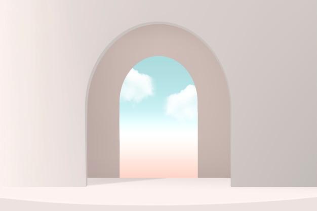 Fondale prodotto minimale con finestra e cielo