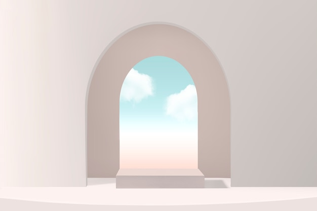 Minimal product backdrop with window and sky