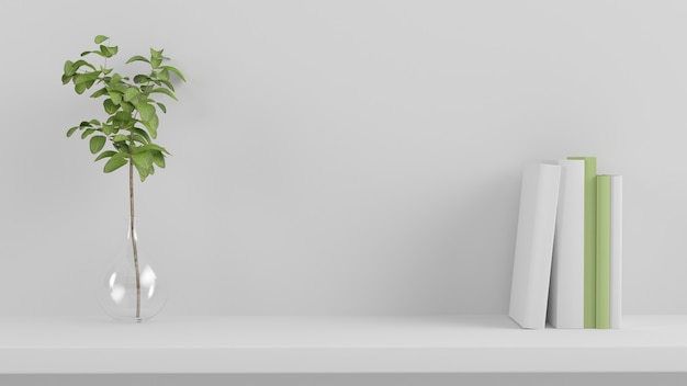 Minimal product presentaiton shelf 3d rendering
