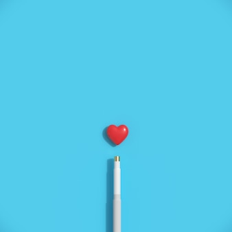 Minimal red heart shape with cue  on blue pastel background.