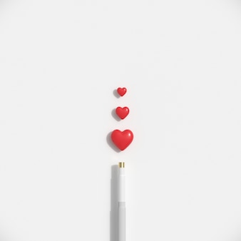Minimal red hearts shape with cue  on white pastel background.