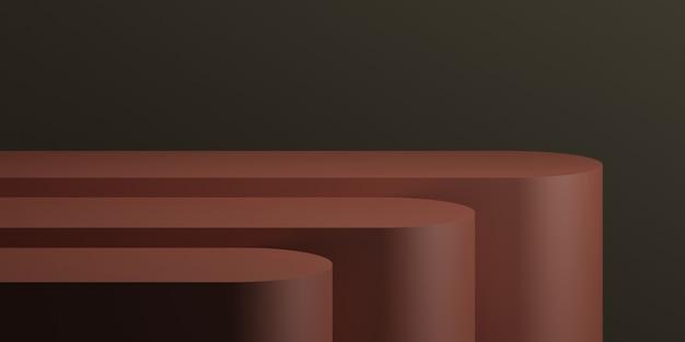 製品プレゼンテーションの3dレンダリングイラストの暗い背景と最小限の赤い表彰台