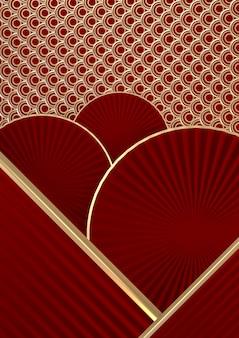 쇼 제품에 대한 최소 빨간색 세로 배경 중국 스타일. 3d 렌더링