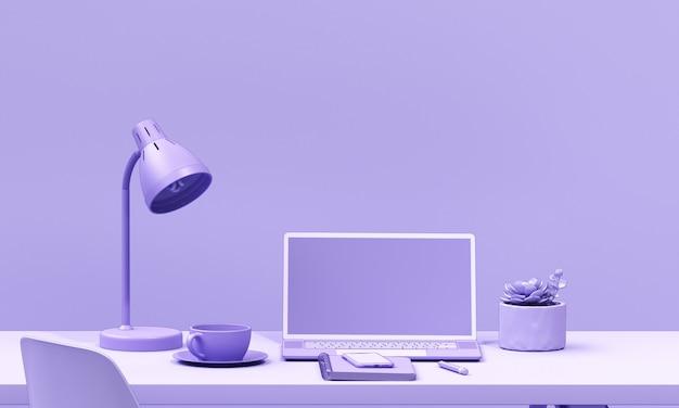 Minimal render laptop purple background