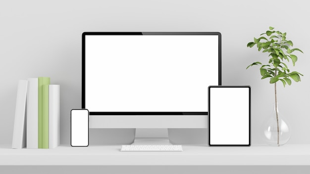 Minimal responsive devices mock up 3d rendering