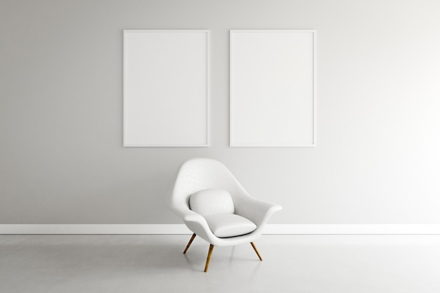 Minimal room with armchair and frames
