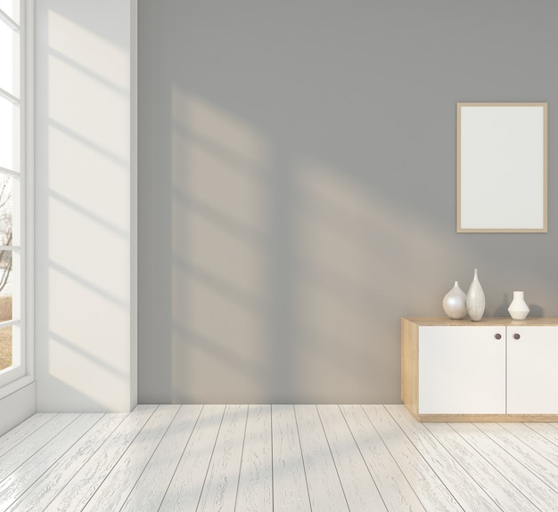 찬장과 회색 벽이있는 최소한의 방