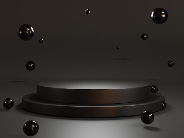 제품 프레젠테이션, 3d 렌더링 기술 개념을 보여주기 위한 어두운 배경과 검은색 공이 있는 최소 원형 검정 빈 연단입니다.