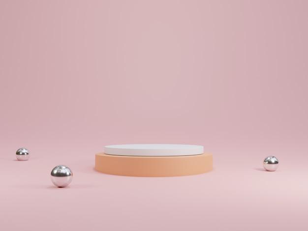 製品のプレゼンテーション、3dレンダリングの技術的概念を示すためのピンクの背景と金属製のボールを備えた最小限の丸いパステルカラーの空白の表彰台。