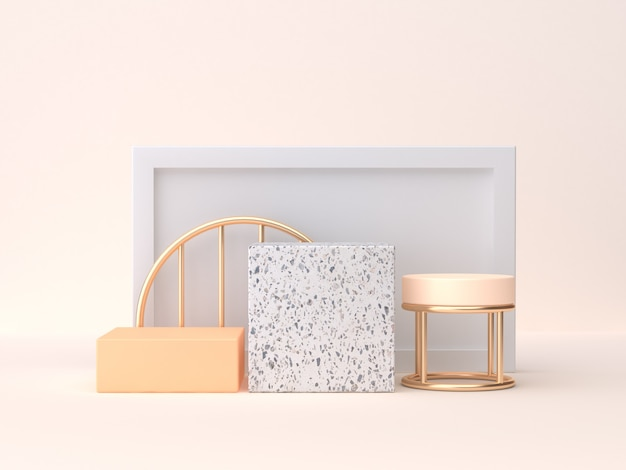 Minimal scene 3d rendering marble gold orange geometric shape