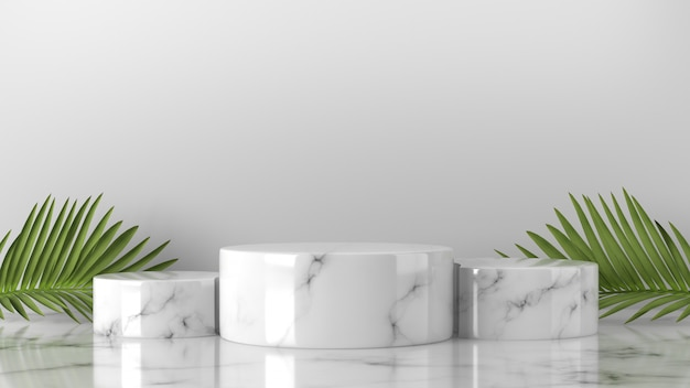 Minimal scene luxury white marble cylinder podium and palm leaves in background
