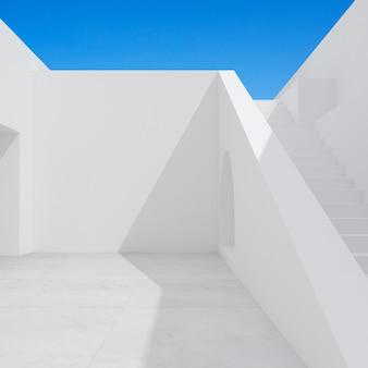 階段のある建築空間のミニマルシーン。