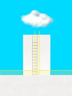 파란색 배경에 구름 위의 건물과 사다리의 최소한의 장면.