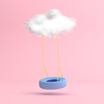흰 구름과 함께 떠 다니는 파란색 스윙 타이어의 최소한의 장면.
