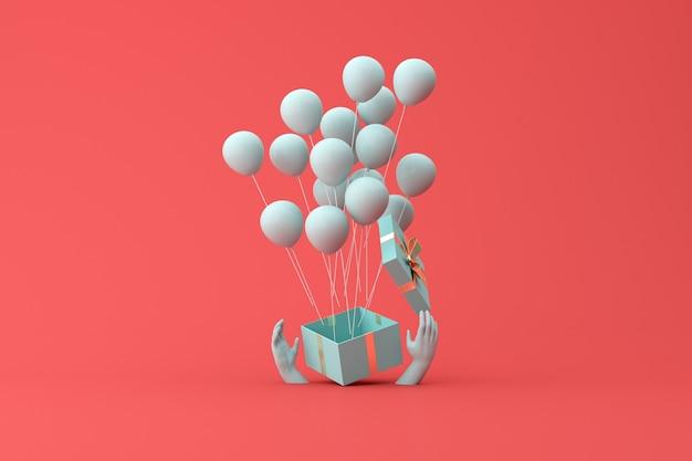 Минимальная сцена открытой подарочной коробки и плавающих воздушных шаров с держащейся рукой. 3d-рендеринг.