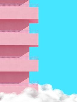 분홍색 건물과 파란색 배경에 구름 위의 발코니의 최소한의 장면.