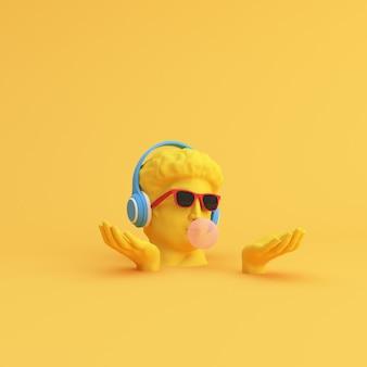 Минимальная сцена солнцезащитных очков и наушников на скульптуре человеческой головы, музыкальной концепции.