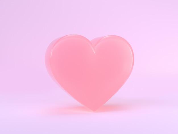 Минимальная сцена розовое сердце формы 3d визуализации валентина концепции