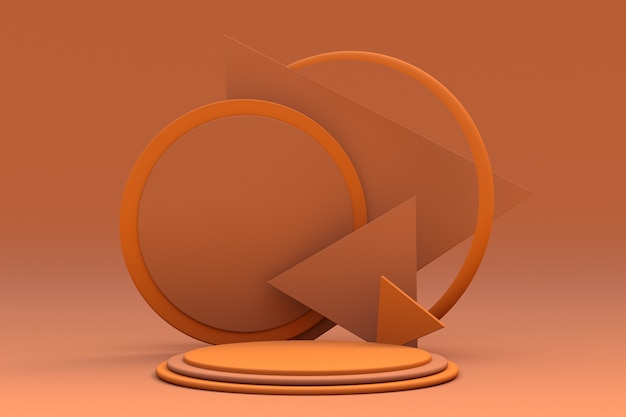 황토색의 기하학적 형태가 있는 최소 장면 기본 모양 삼각형 아치