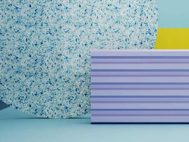 Minimal scene with geometrical forms in ocher colors. primitive shapes, terrazzo cylinder and curves.  violet, yellow, blue spring scene. minimal background to show products. colorful. 3d render.