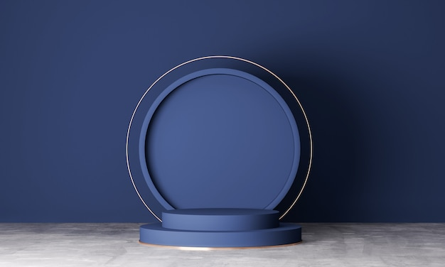 Minimal scene with geometrical forms. podiums in navy blue background. scene to show cosmetic product, showcase