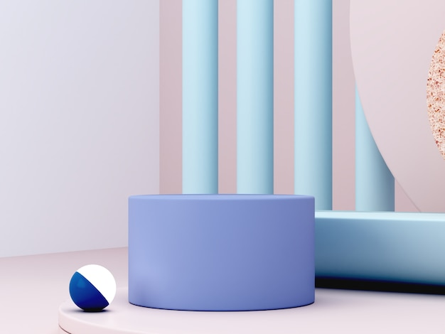 Minimal scene with podium and abstract background. geometric shape. blue pastel colors scene. minimal 3d rendering. scene with geometrical forms and cream background. 3d render.