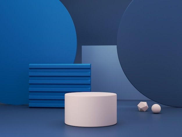 Minimal scene with podium and abstract background. geometric shape. classic blue winter colors scene. minimal 3d rendering. scene with geometrical forms and textured background. 3d render.