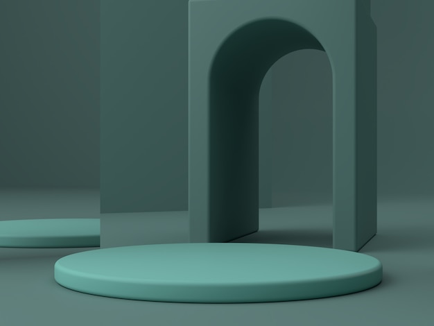 Minimal scene with podium and abstract background. geometric shape. green colors scene.