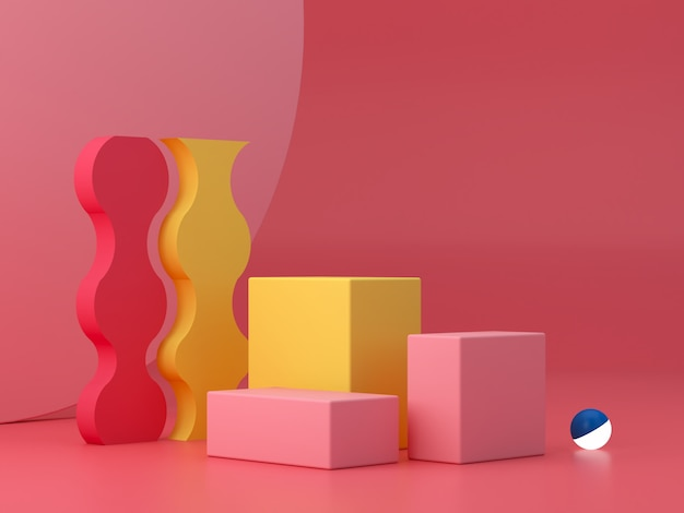 Minimal scene with podium and abstract background. geometric shape. pink, yellow and blue, colorful scene. minimal 3d rendering. scene with geometrical forms and textured background. 3d render.