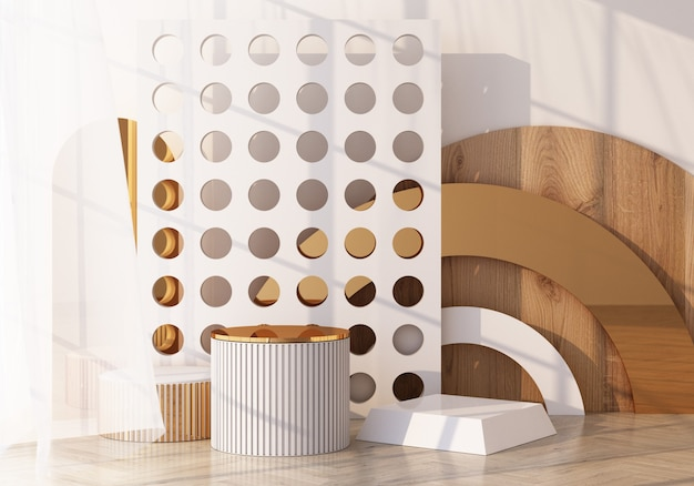 Minimal scene with podium and abstract background. gold and white scene. trendy for social media banners, promotion, cosmetic product show. geometric shapes wooden texture interior 3d render