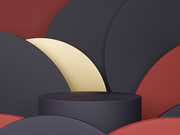 Minimal scene with podium and abstract background round shapes. black, red and gold colors scene. 3d rendering.