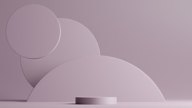 Minimal scene with podium and abstract background round shapes. purple colors scene. 3d rendering.