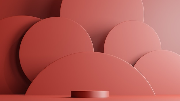 Minimal scene with podium and abstract background round shapes. red colors scene. 3d rendering.
