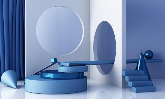 表彰台と抽象的な背景を持つ最小限のシーン。青と白のシーン。ソーシャルメディアバナー、プロモーション、化粧品ショーで流行。幾何学的形状の内部3dレンダリング