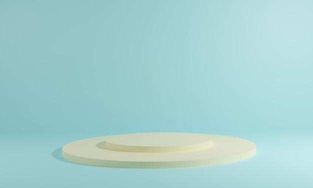 연단과 추상적 인 배경을 가진 최소한의 장면. 기하학적 모양. 3d 그림. 3d 렌더링.