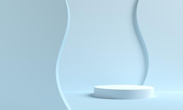 연단과 추상적 인 배경을 가진 최소한의 장면. 기하학적 모양. 블루 파스텔 색상 장면. 3d 렌더링