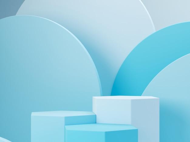 表彰台と抽象的な背景を持つ最小限のシーン。幾何学的形状。青いパステルカラーのシーン。最小限の3dレンダリング。幾何学的形態と青色の背景のシーン。 3 dのレンダリング。