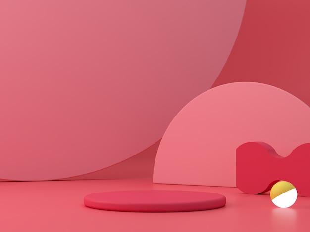 연단과 추상적 인 배경으로 최소한의 장면. 기하학적 모양. 분홍색, 화려한 장면. 최소 3d 렌더링. 기하학적 형태와 질감 배경 장면. 3d 렌더링