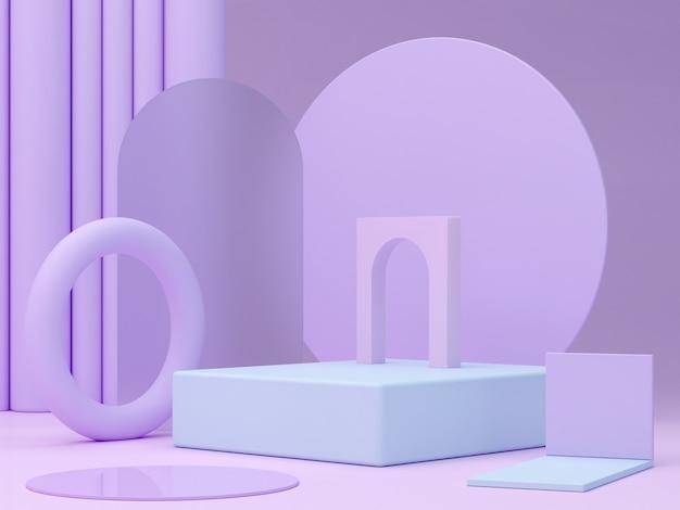 연단과 추상적 인 배경 기하학적 모양 파스텔 색상 장면이있는 최소한의 장면