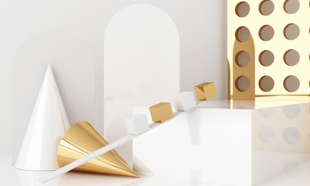 表彰台と抽象的な背景を持つ最小限のシーン。ゴールドとホワイトのシーン。ソーシャルメディアバナー、プロモーション、化粧品ショーで流行。幾何学的形状の内部3dレンダリング