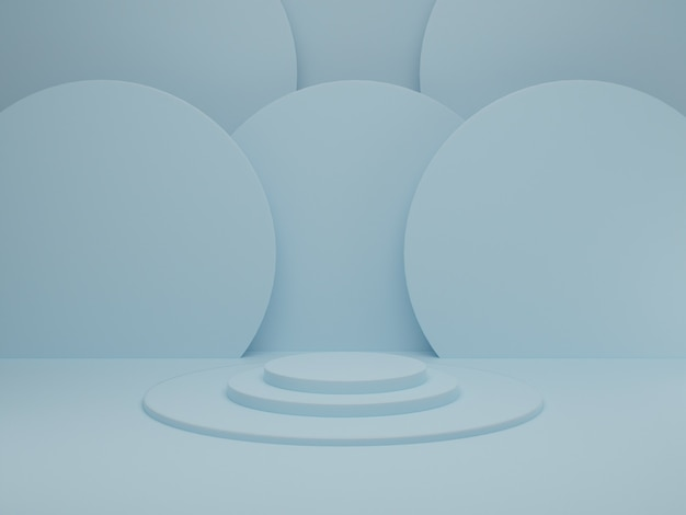 Minimal scene with podium on blue pastel background. geometric shape. abstract scene with geometrical forms. 3d rendering.